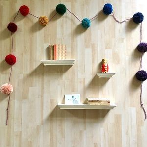 Handmade pompom rainbow garland boho nursery decor
